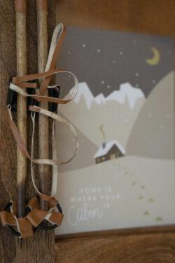 Bilderrahmen aus Holz mit Ski Stöcken Vintage