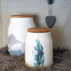 Dose Küchendose Aufbewahrungsdose aus Keramik mit Berge und Kletterer