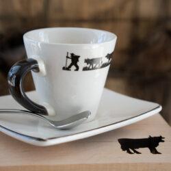 Espresso Tasse Almabtrie mit Untersetzer