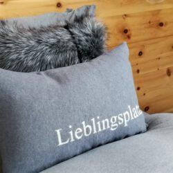 Kissen Hülle Silvretta Lieblingsplatz Grau Fussenegger