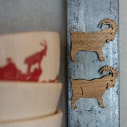 Magnet für den Kühlschrank Steinbock Holz