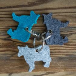 Schlüssel Anhänger Kuh Filz Merino Grau