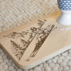 Brett Frühstück Schneidebrett Skifahrer Kletterer Ski
