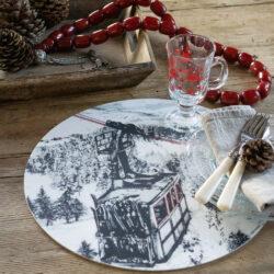 Rundes Tischset mit Gondel Motiv und Winterlandschaft Abwaschbar