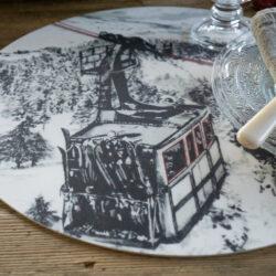 Tischset Rund Angel des Montagnes Gondel Skipiste