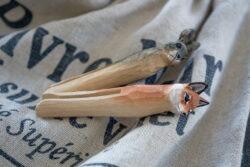 Wäscheklammer aus Lindenholz Alpenstil Fuchs Kaninchen
